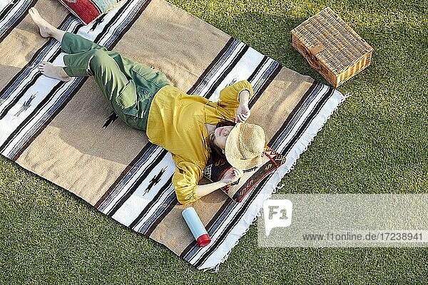 Japanese woman on lawn