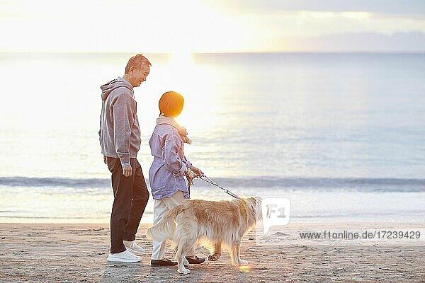 Senior Japanese couple at the beach