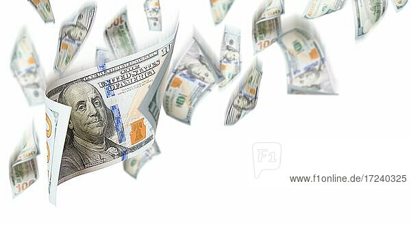 Several 100 dollar bills falling from above on white background