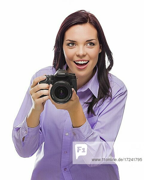 Attractive mixed-race young woman with DSLR camera isolated on a white background