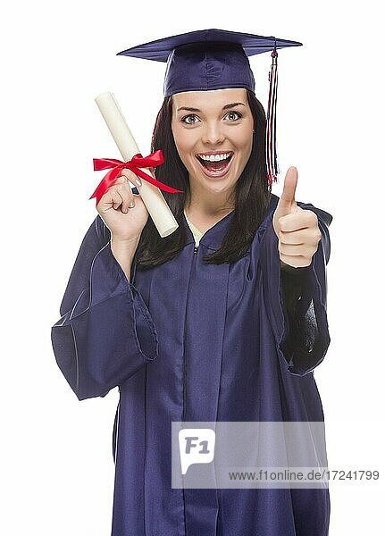 Happy graduating mixed-race female wearing cap and gown with her diploma isolated on white background