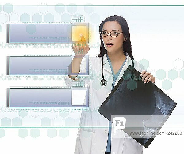 Young doctor or nurse with x-ray pushing blank button on futuristic translucent panel  ready for your own copy