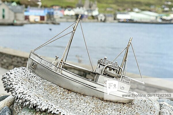 Norwegian resistance in WW2  stainless steel fishing boat  small monument of the Shetland Bus  Scalloway  Mainland  Shetland Islands  Scotland  Great Britain