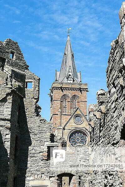 Former Bishop's Residence  Ruined episcopal palace  episcopal palace  Tower of St Magnus Cathedral behind  St Magnus Cathedral  Kirkwall  Mainland  Orkney Islands  Scotland  Great Britain
