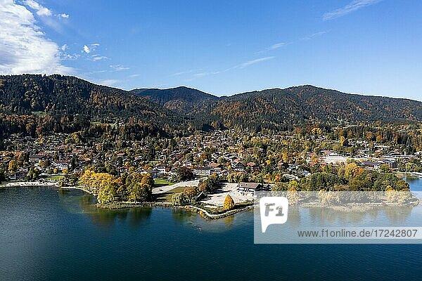 Aerial view  Bad Wiessee and Abwinkl  Tegernsee  Upper Bavaria  Bavaria  Germany  Europe
