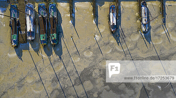 Nederland  Sloten  Overhead view of sailboats moored at marina in frozen water