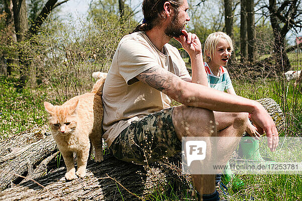 Canada  Ontario  Kingston  Father and son sitting on log with ginger cat