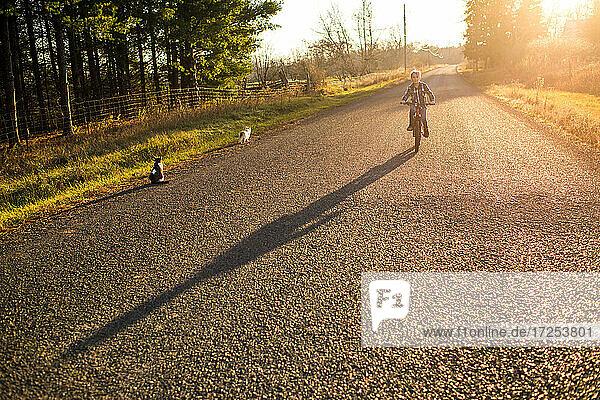 Canada  Ontario  Boy riding bike on rural road at sunset