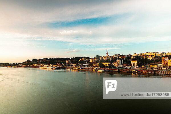 View of Belgrade city by Danube river