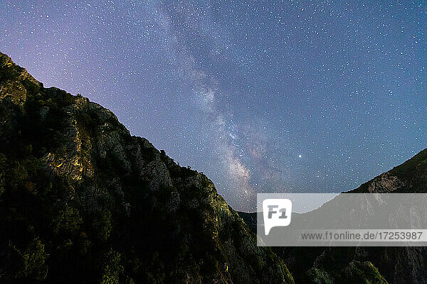 Scenic view of starry sky over mountain at night  Canyon Matka  Skopje  North Macedonia