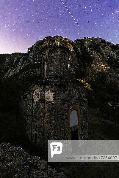 View of star trail over Matka Monastery at night  Canyon Matka  Skopje  North Macedonia