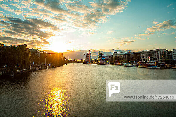 View of River Spree flowing through Berlin city