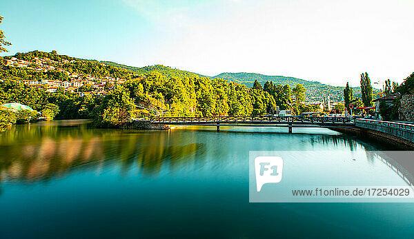 Scenic view of bridge over River Miljacka in Sarajevo city
