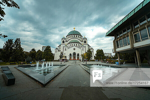 Low angle view of Temple of Saint Sava with fountain in foreground in Belgrade city