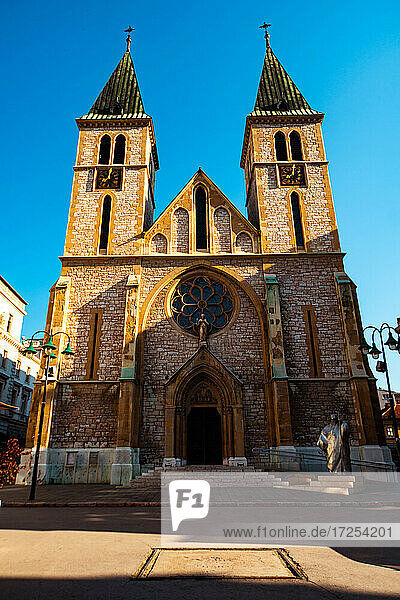 Low angle view of Sacred Heart Cathedral in Sarajevo city