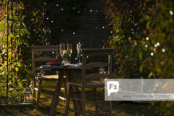 Champagne and red currants on idyllic summer garden table at sunset