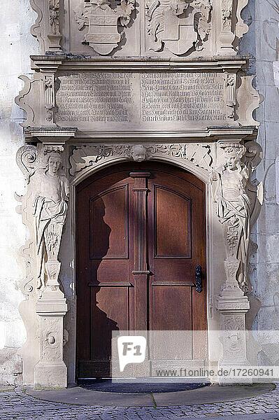 Eingang in das Wasserschloss in Bad Rappenau; im Landkreis Heilbronn  Baden-Württemberg; Deutschland  Europa.