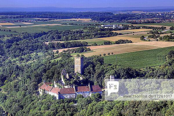 Luftaufnahme der Burg Guttenberg in Haßmersheim im Neckartal  UNESCO-Global-Geopark Bergstraße-Odenwald  Baden-Württemberg  Bergstraße  Odenwald  Süddeutschland  Deutschland  Europa.