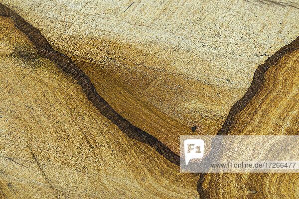 Australien  New South Wales  Blue Mountains National Park  Nahaufnahme der Textur und Muster von Sandsteinfelsen