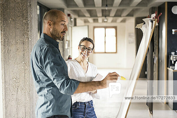 Smiling woman standing by man writing on canvas fabric at office