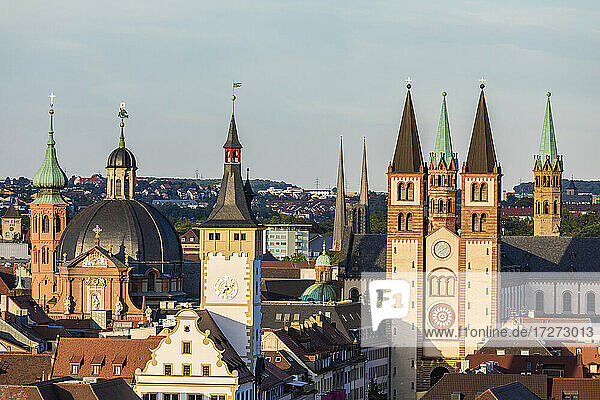 Germany  Bavaria  Wurzburg  Towers of Wurzburg Cathedral  old town hall andNeumunster