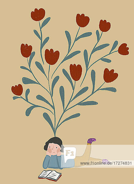 Clip art of blooming tulips representing imagination of girl reading book
