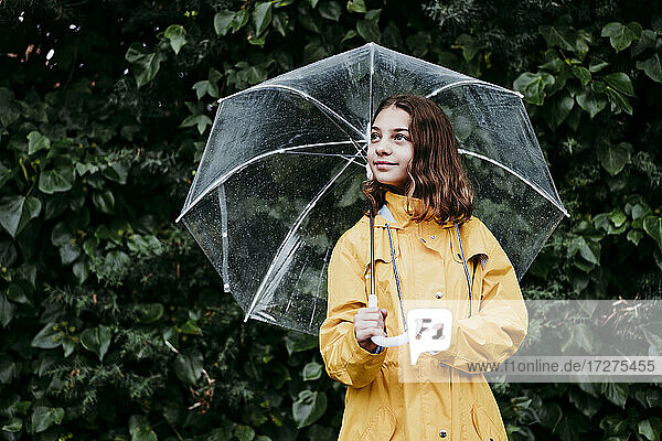 Girl in raincoat with umbrella looking away while standing against leaf wall