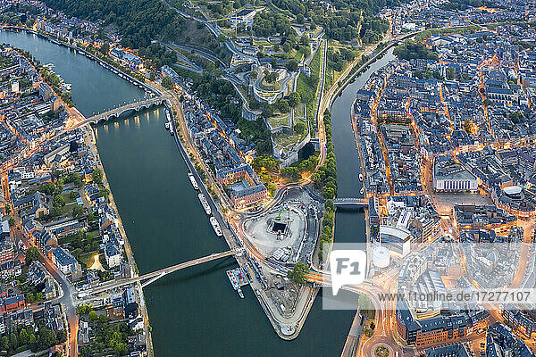 Belgium  Namur Province  Namur  Aerial view of confluence of Sambre and Meuse rivers in middle of city