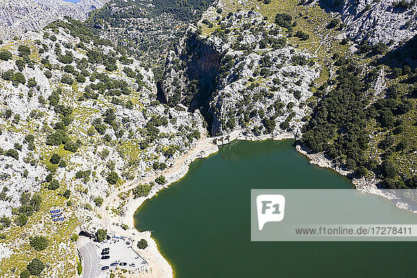 Spain  Balearic Islands  Helicopter view of Gorg Blau reservoir in summer