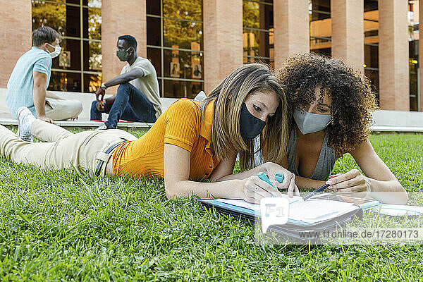 Male and female friends wearing safety mask while studying over grass in university campus