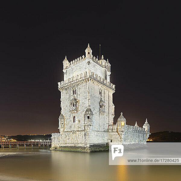 Portugal  Lisbon District  Lisbon  Belem Tower at night