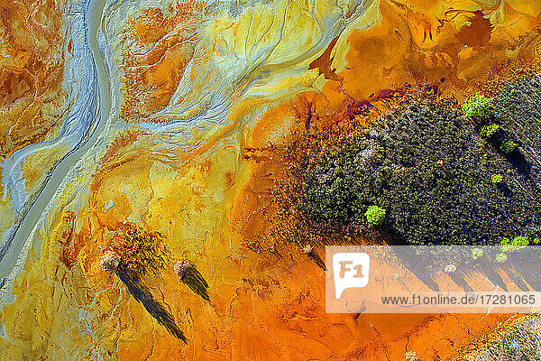 Spain  Andalusia  Aerial view of acidic Rio Tinto river