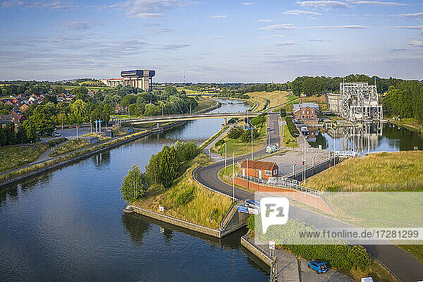 Belgium HainautProvince  Aerial view of historical boat lift on CanalduCentre withStrepy-Thieulift in background