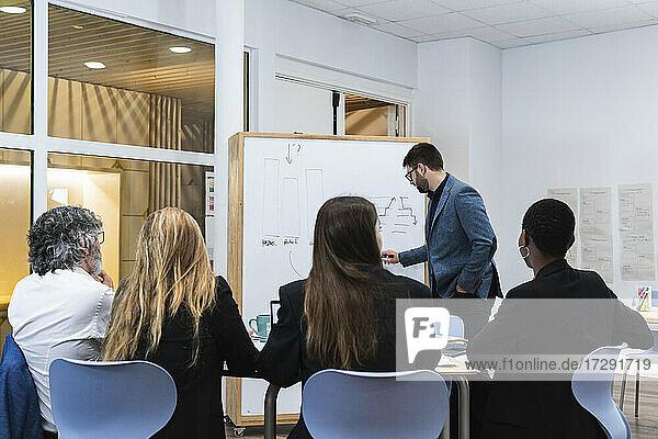Junger Geschäftsmann erklärt männlichen und weiblichen Mitarbeitern in einer Besprechung im Büro die Geschäftsstrategie