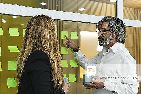 Senior businessman with coffee mug explaining business strategy to female coworker in office