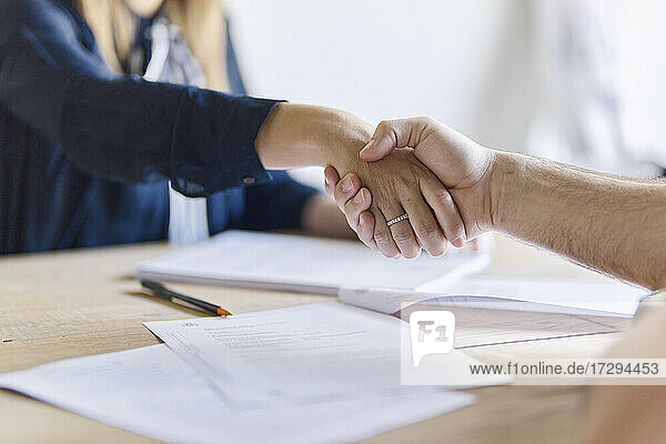 Mature male client shaking hands with woman at office