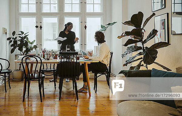 Young female entrepreneur discussing with businessman in home office