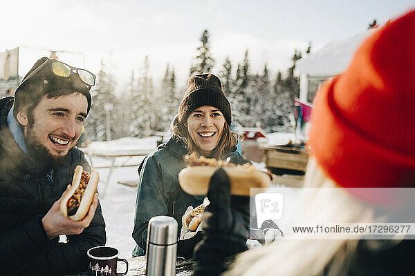 Glückliche Freunde essen Hot Dog beim Sitzen im Skigebiet im Winter