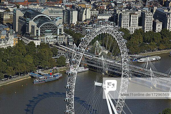 UK  London  London Eye  Charing Cross railway station and river Thames