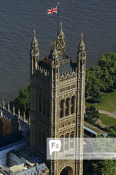 UK  London  Aerial view of Victoria Tower