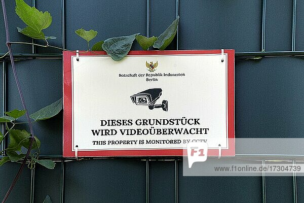 Video surveillance sign at the Embassy of the Republic of Indonesia Berlin  Berlin  Germany  Europe