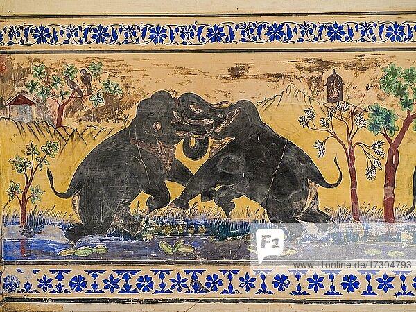 Mural painting  fighting elephants  fortress Kumbhalgarh  Rajasthan  India  Asia