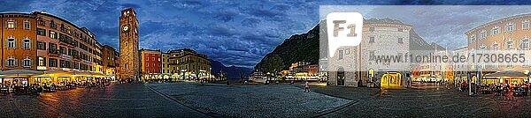360° Panorama von der Piazza Novembre mit Torre Apponale am Abend  Riva del Garda  Gardasee Nord  Trento  Trentino-Alto Adige  Italien  Europa