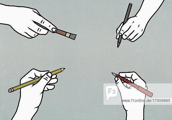 Hände mit Schreib- und Malutensilien