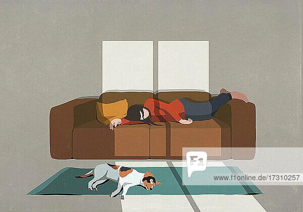Erschöpfte Frau und Hund schlafen auf Sofa und Teppich