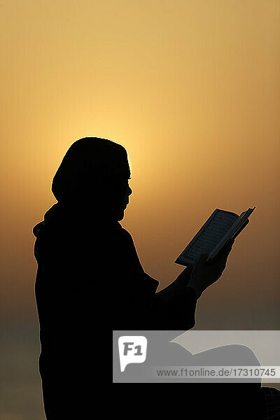 Silhouette of a Muslim woman reading the Noble Quran at sunset  United Arab Emirates  Middle East