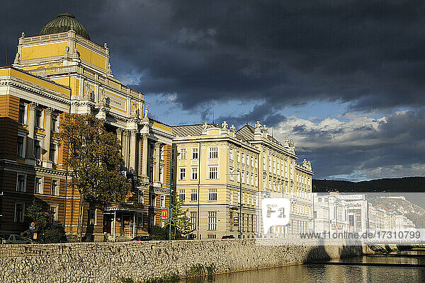 Bank of the Miljacka River  Sarajevo  Bosnia and Herzegovina  Europe