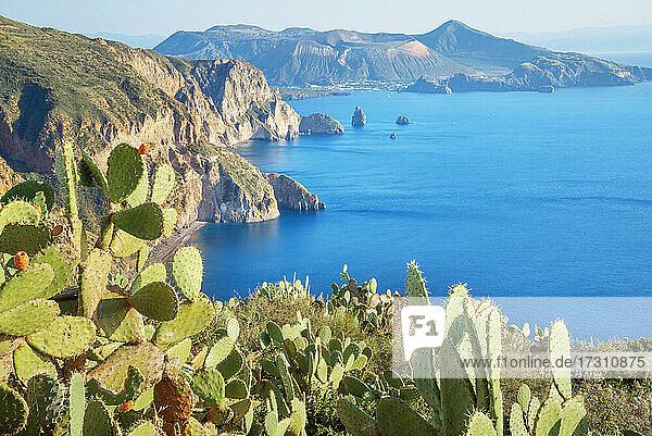 View of Lipari and Vulcano island from Belvedere Quattrocchi  Lipari Island  Aeolian Islands  UNESCO World Heritage Site  Sicily  Italy  Mediterranean  Europe