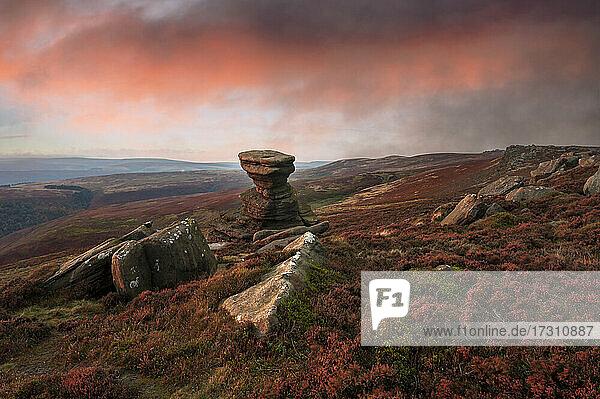 The Salt Cellar Rock  Derwent Edge  with heather moorland  Peak District National Park  Derbyshire  England  United Kingdom  Europe