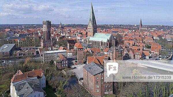 Aerial view  old town  Lüneburg  Lower Saxony  Germany  Europe